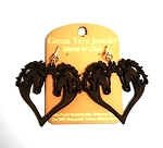 GreenTree earrings - Horse Hearts, Brown
