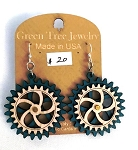 GreenTree kinetic earrings - 2 Gears A, blue
