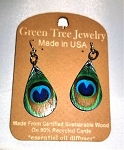 GreenTree earrings - Peacock feather