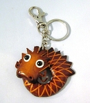 Leather Dragon Key Ring, brown