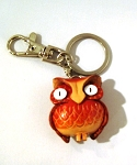 Leather Owl Key Ring, red