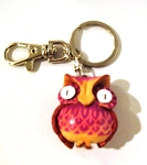 Leather Owl Key Ring, purple