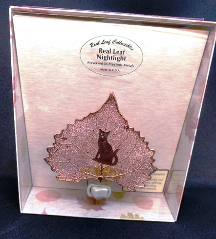 Cat Silhouette on Cottonwood Leaf Nightlight, rose gold