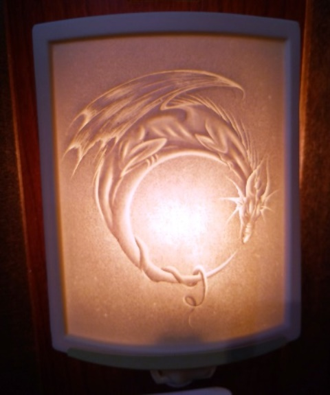 Curved Nightlight, Dragon Moon, etched porcelain