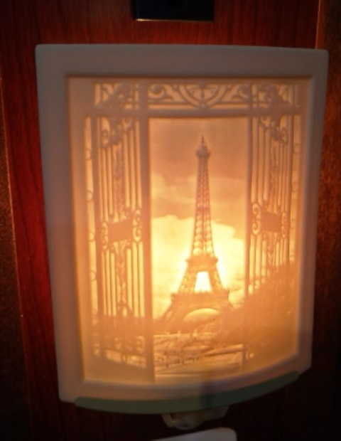 Curved Nightlight, Eiffel Tower, etched porcelain
