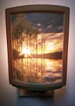 Curved Nightlight, Color Lakeshore Sunset, etched porcelain