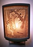 Curved Nightlight, Voice of the Soul, etched porcelain