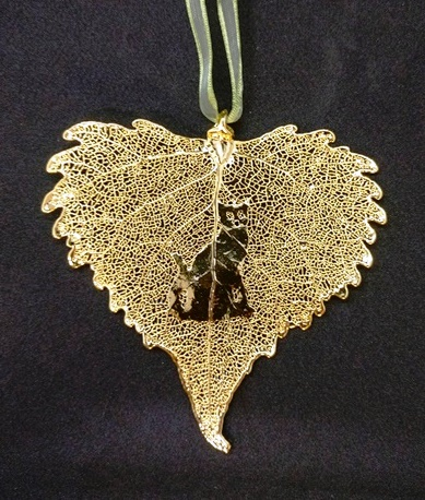 Cat Silhouette on Gold Cottonwood Leaf Ornament