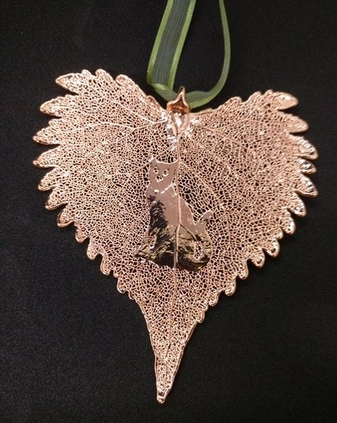 Cat Silhouette on Rose Gold Cottonwood Leaf Ornament