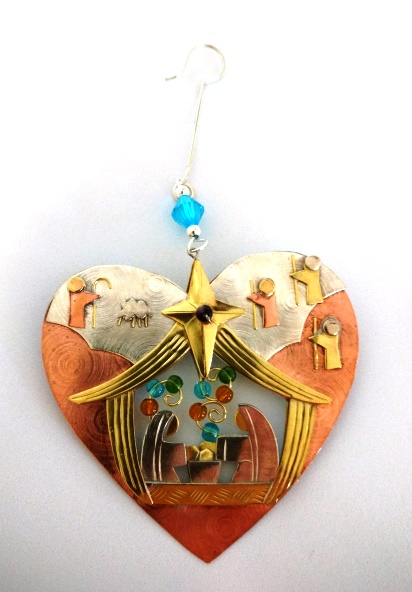 Heart Nativity Ornament