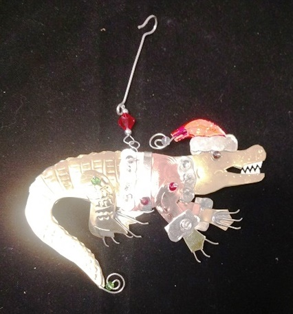 Santa Gator Metal Ornament