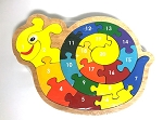 Handcrafted Wooden Snail Number Puzzle