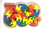 Handcrafted Wooden Snake Alphabet Puzzle