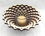 Wooden Votive Bowl - Basket Design