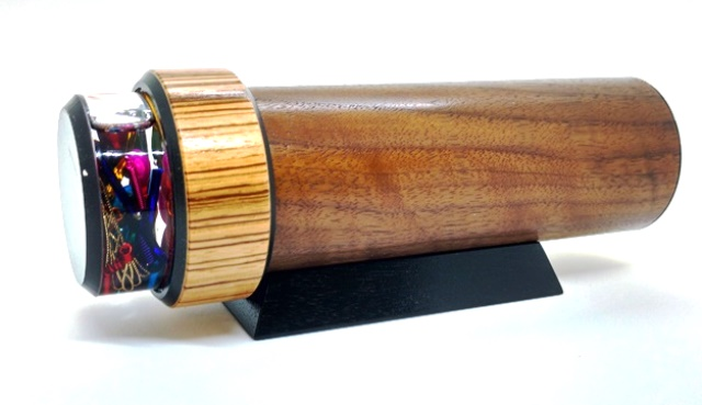 Curly Walnut 2M Kaleidoscope with bright interior by Luc and Sallie Durette
