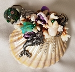 Mini Seashell Kaleidoscope with aquarium bead, mermaid by Cathy Painter