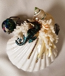 Mini Seashell Kaleidoscope with aquarium bead, med seahorse by Cathy Painter
