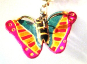 Leather Butterfly C Key Ring