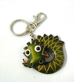 Leather Dragon Key Ring, green