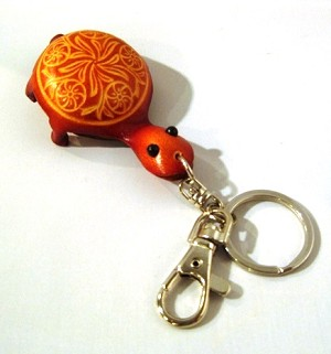 Leather Turtle Key Ring, brown