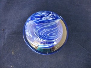 Swirled paperweight blue white