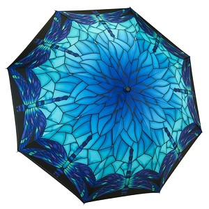 Reverse Fold Stained Glass Dragonfly Compact Umbrella