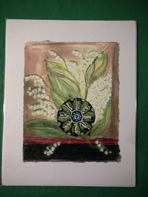 Lily of the Valley and mandala watercolor by Sue Ross