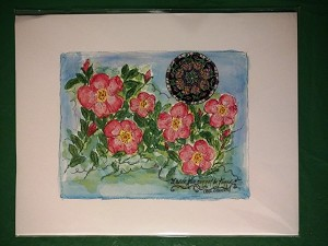 Wild roses and mandala watercolor by Sue Ross