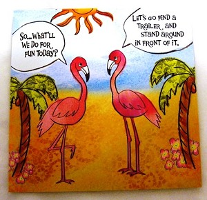 Leanin' Tree Flamingos card