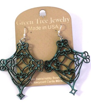 GreenTree earrings - Celtic lace, teal