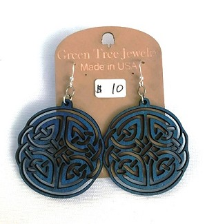 GreenTree earrings - Blue Celtic maze