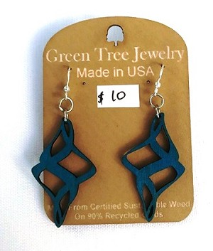 GreenTree earrings - Diamond Swirl, aqua