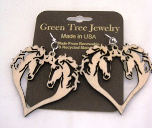 GreenTree earrings - Horse Hearts, Cinnamon