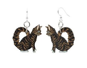 GreenTree earrings - Tabby Cat
