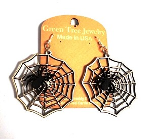 GreenTree earrings - Black Spider on Cream Web