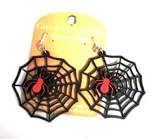 GreenTree earrings - Red Spider on Black Web