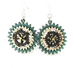 GreenTree kinetic earrings - Triple Gear, K
