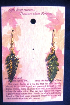 Real Fern Earrings, pair - Gold