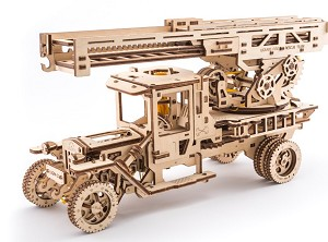 Wooden Mechanical Fire Ladder Truck Kit by Ugears