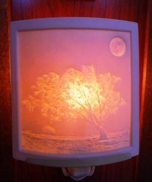 Curved Nightlight, Frosty Moon, etched porcelain