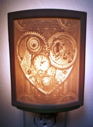 Curved Nightlight, Key to my Heart, etched porcelain
