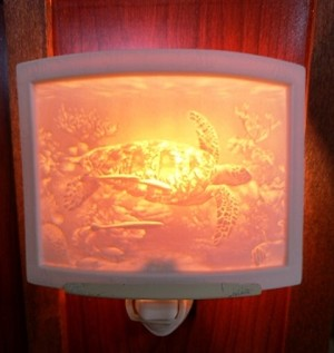 Curved Nightlight, Sea Turtle, etched porcelain