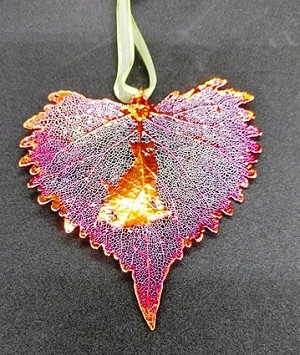 Cat Silhouette on Iridescent Cottonwood Leaf Ornament