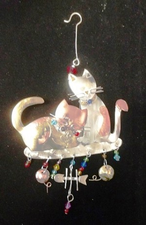 Meow Love Metal Ornament