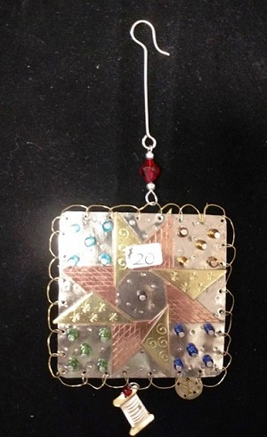 Quilt Star Metal Ornament