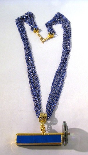 Detached Dichro4 kaleidoscope necklace by Lori Riley, Dark blue